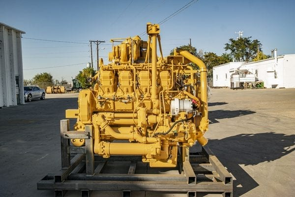 Side View of Steel Skid and 777D Remanufactured 3508 CAT Engine