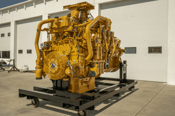 Three-Quarter Side View of 739D Remanufactured 3516 CAT Engine
